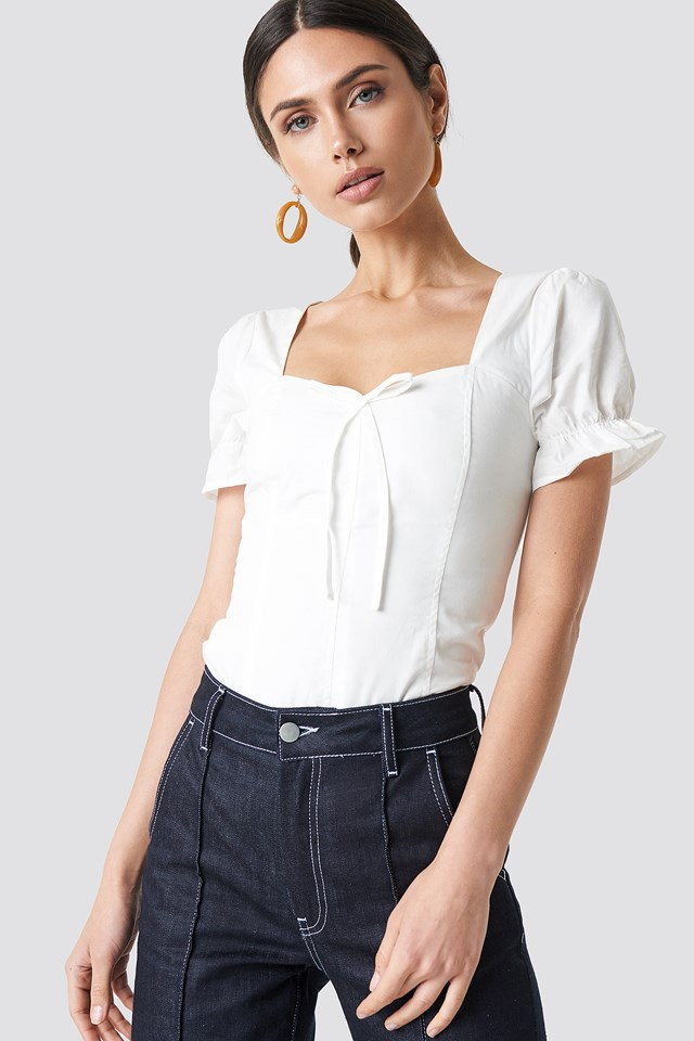 Puffy Shoulder Corset Top NA-KD Boho