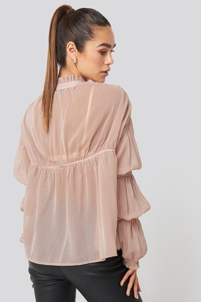 Puffy Sleeve Draped Chiffon Blouse Light Pink