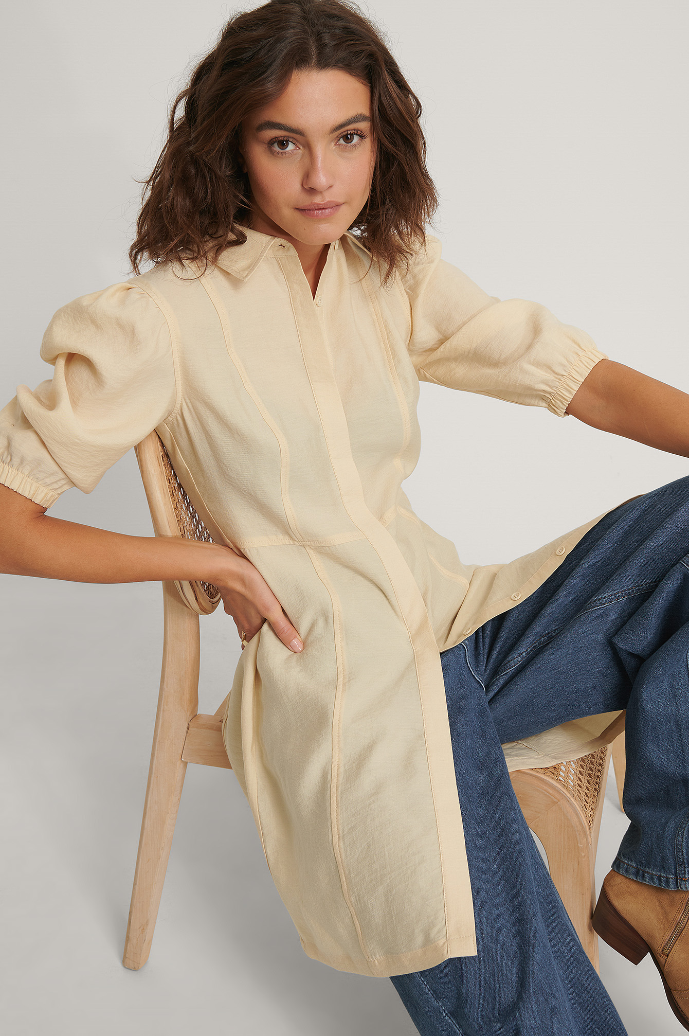 Brown/Beige Puffy Sleeve Shirt Dress