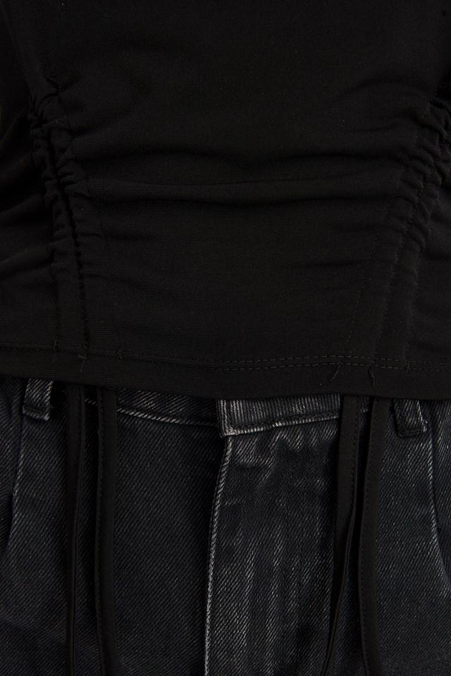 Pull String Detail Tee Black