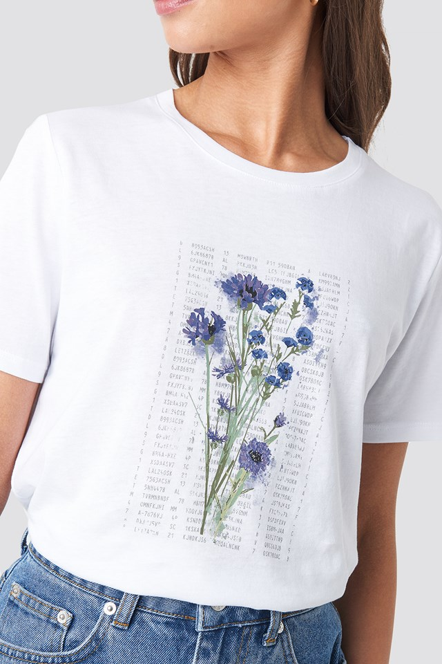 Purple Flower Printed Tee White