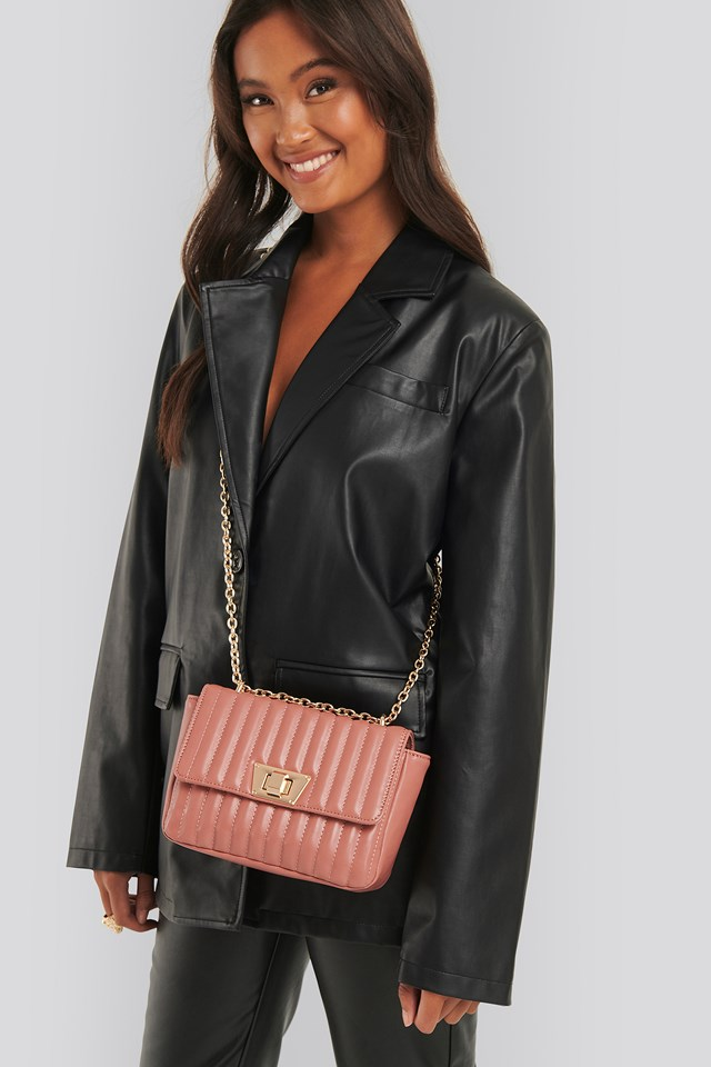Quilted Chain Strap Bag Dusty Pink