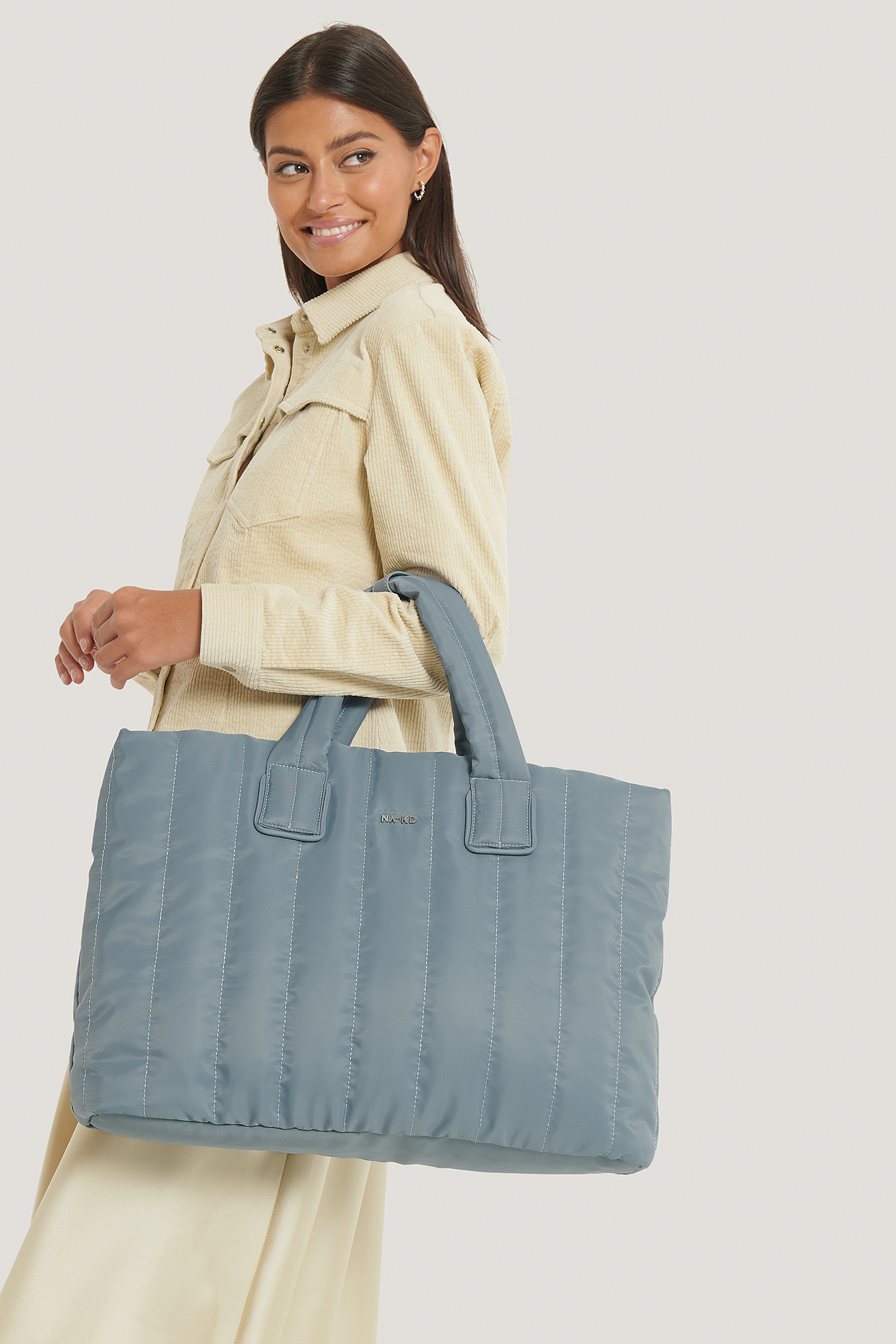 Stone Blue Quilted Nylon Puffer Tote