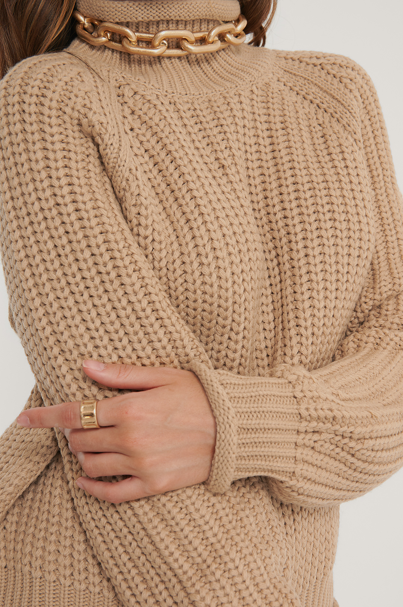 Beige Raglan Sleeve High Neck Knitted Sweater