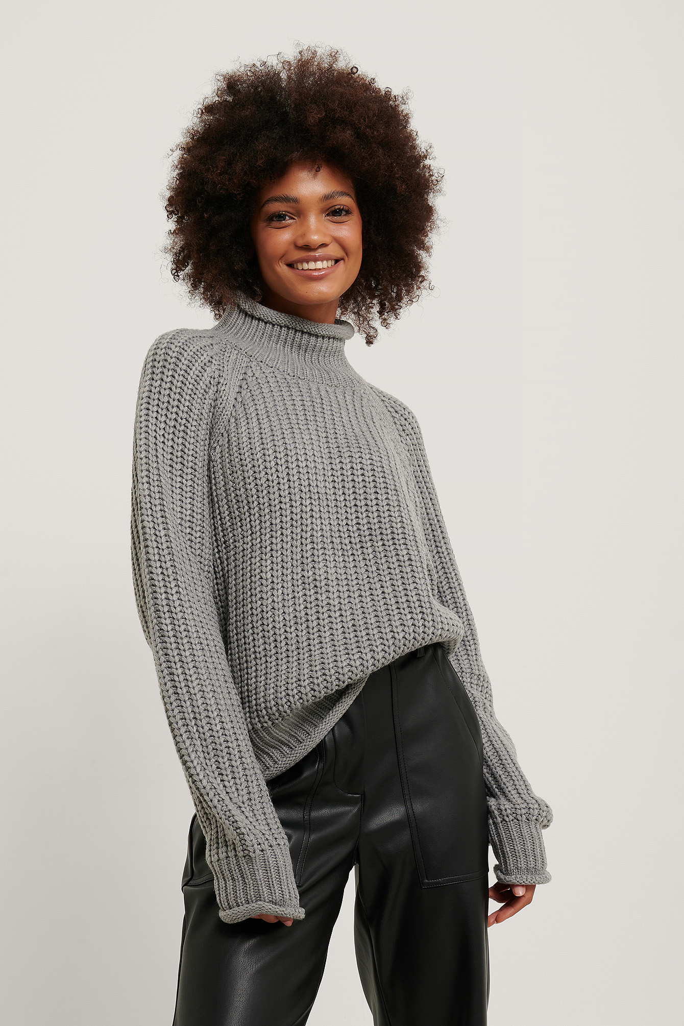 Grey Raglan Sleeve High Neck Knitted Sweater