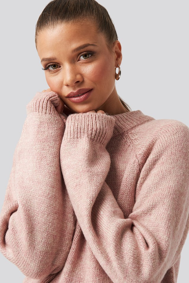 Raglan Sleeve Knitted Sweater Dusty Rose