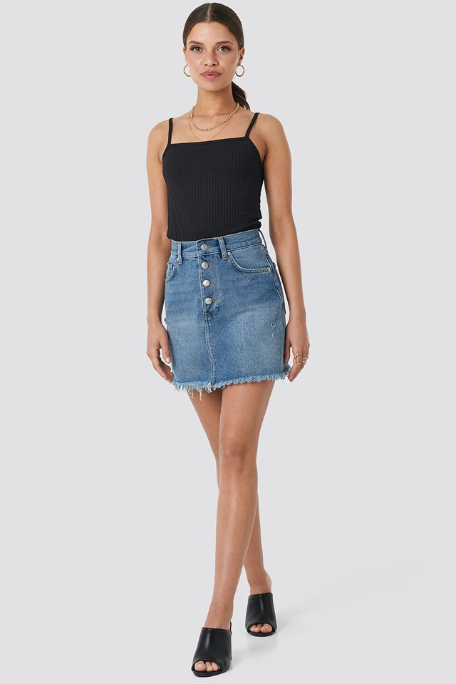 Raw Hem Button Up Mini Skirt Mid Blue Wash