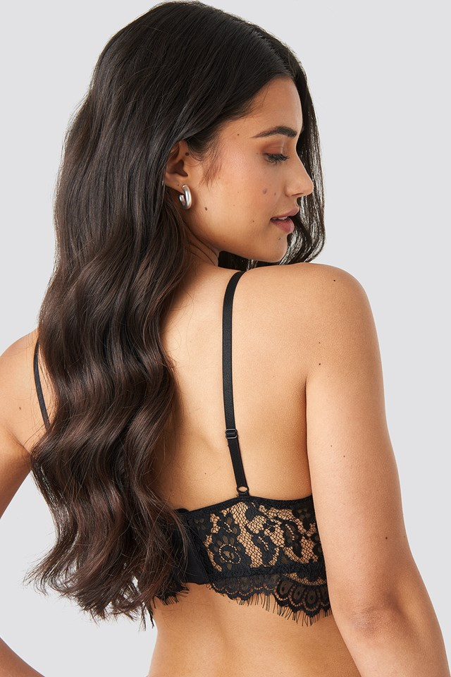 Raw Edge Lace Bustier Black