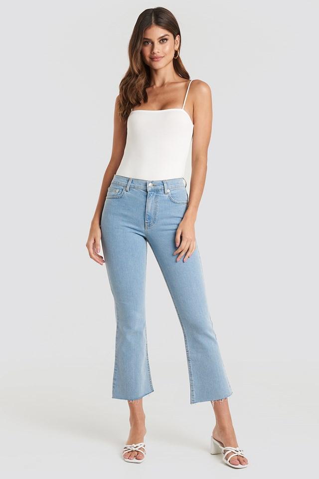 Raw Hem Kick Flare Jeans Light Blue