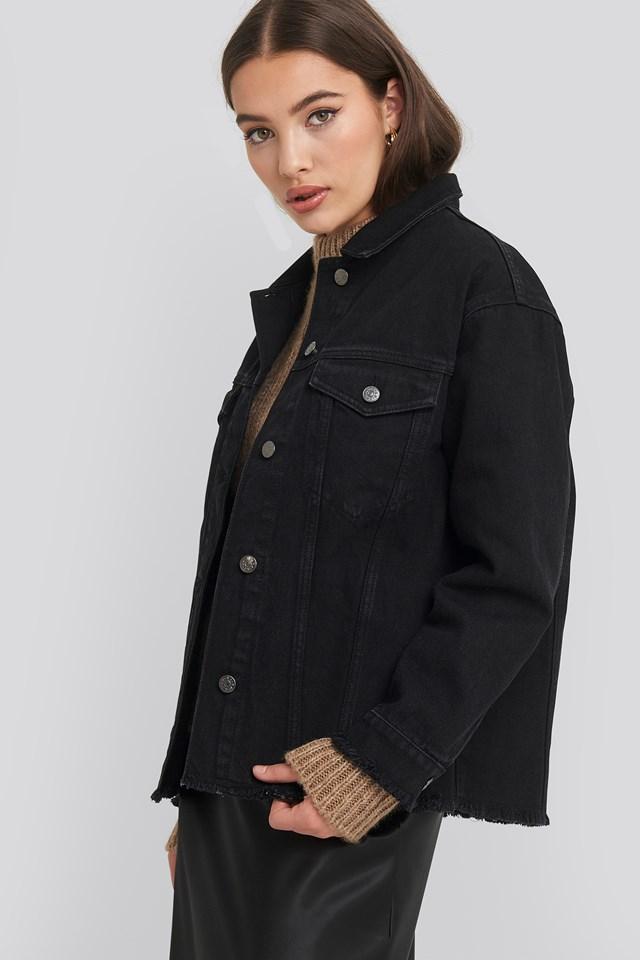Raw Hem Long Denim Jacket NA-KD