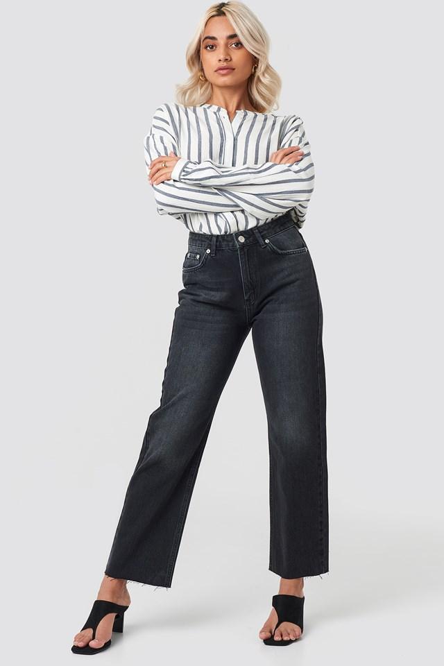 Raw Hem Straight Jeans Black