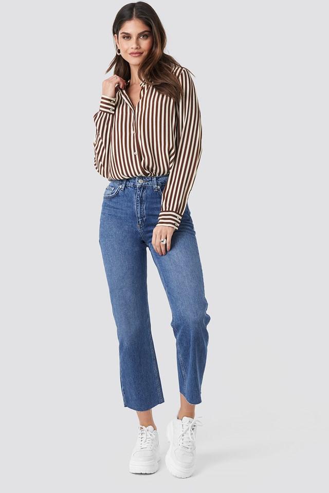 Raw Hem Straight Jeans Mid Blue