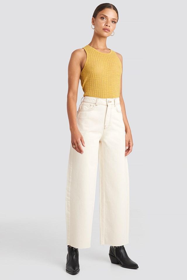 Raw Hem Wide Leg Jeans NA-KD Trend