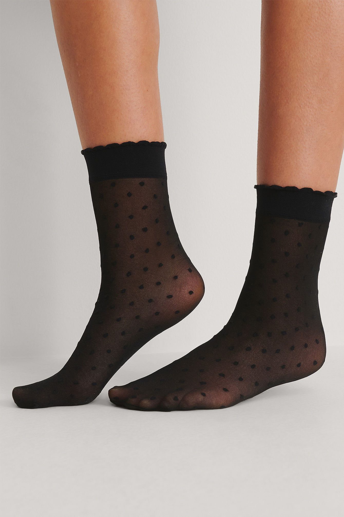 Black Recycled Ankle Dotted Socks 2-pack 30 DEN
