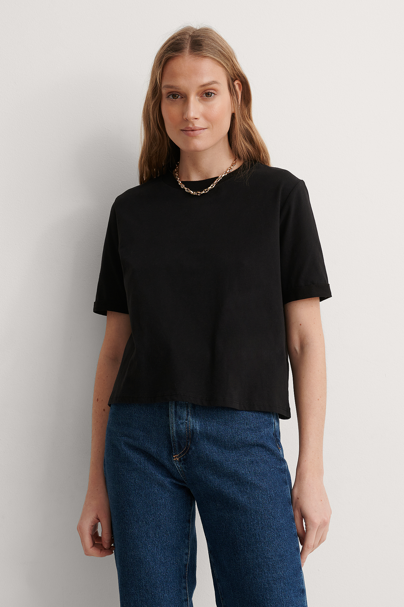 Black Folded Organic Sleeve Tee