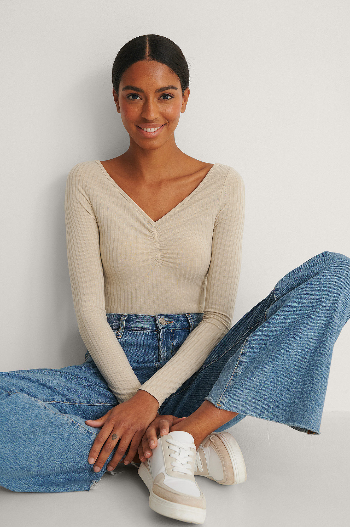 Beige Recycled Front Rouched Ribbed Top