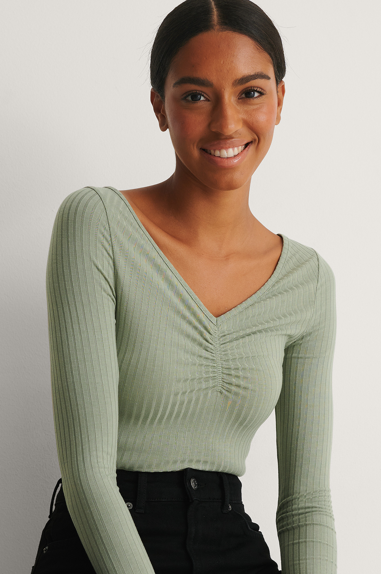 Khaki Recycled Front Rouched Ribbed Top