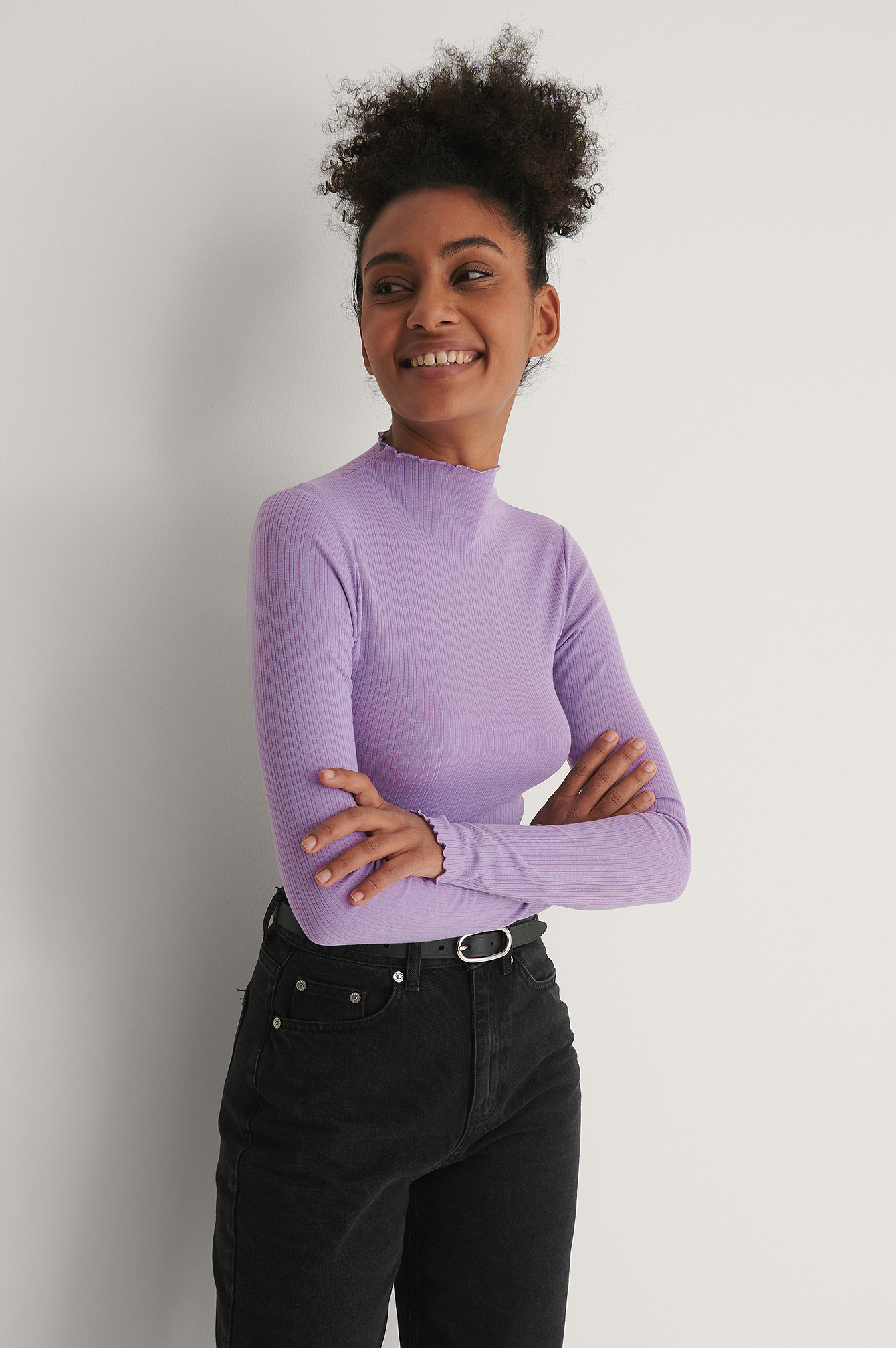 Lilac Recycled High Neck Babylock Detail Top