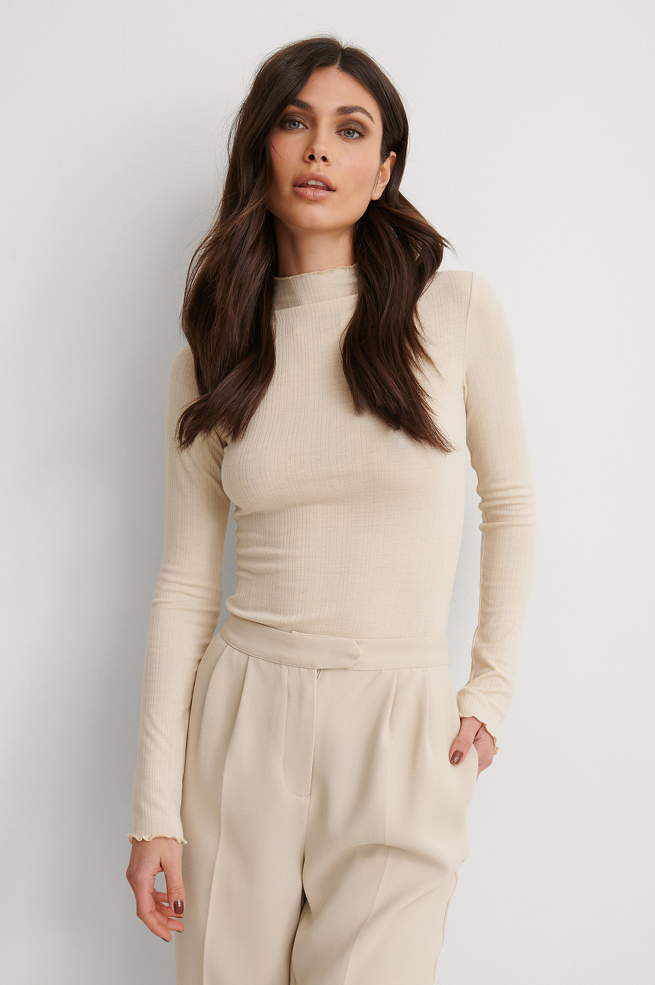Light Beige Recycled High Neck Babylock Detail Top