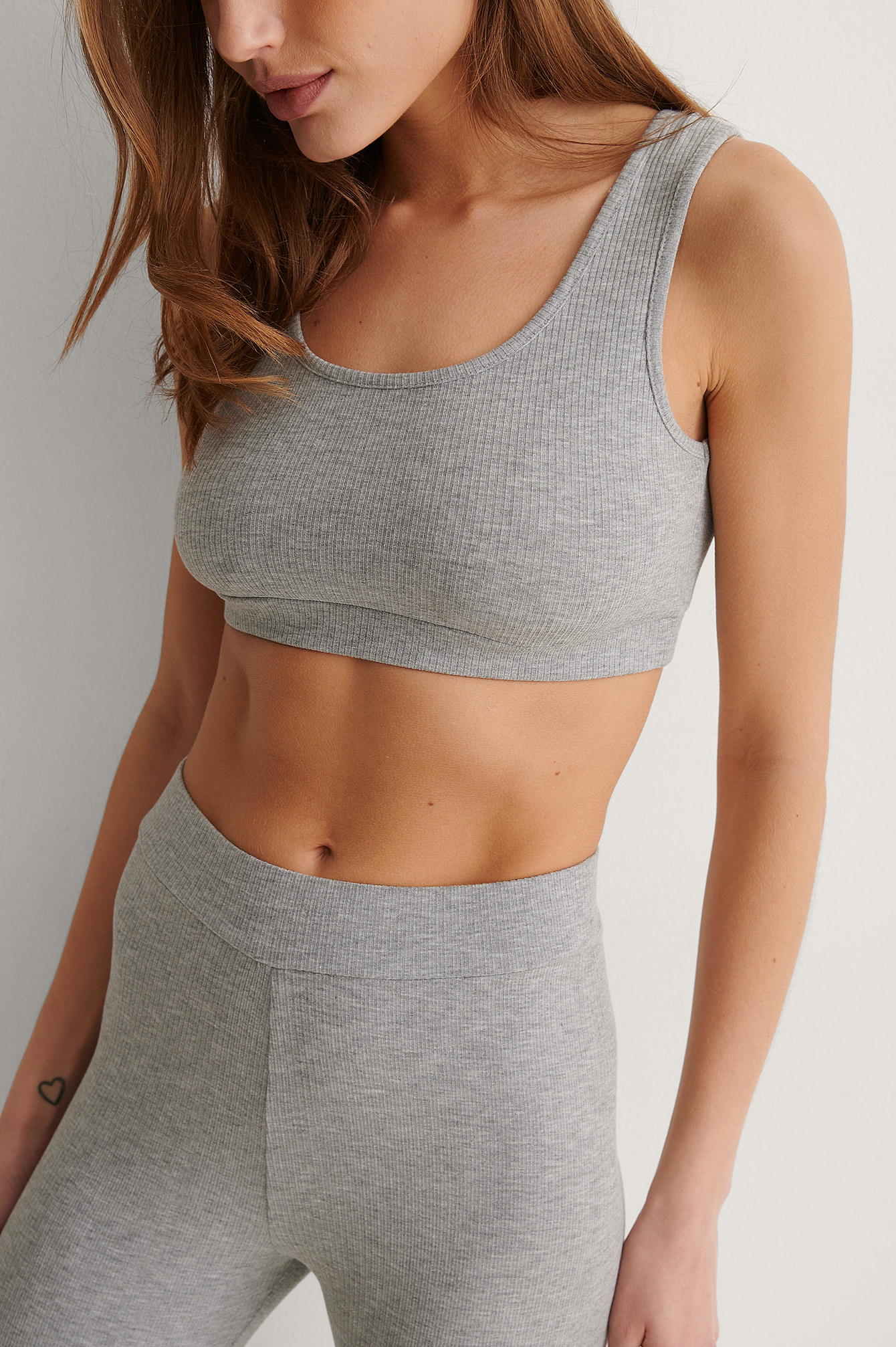 Grey Melange Recycled Ribbed Cropped Top