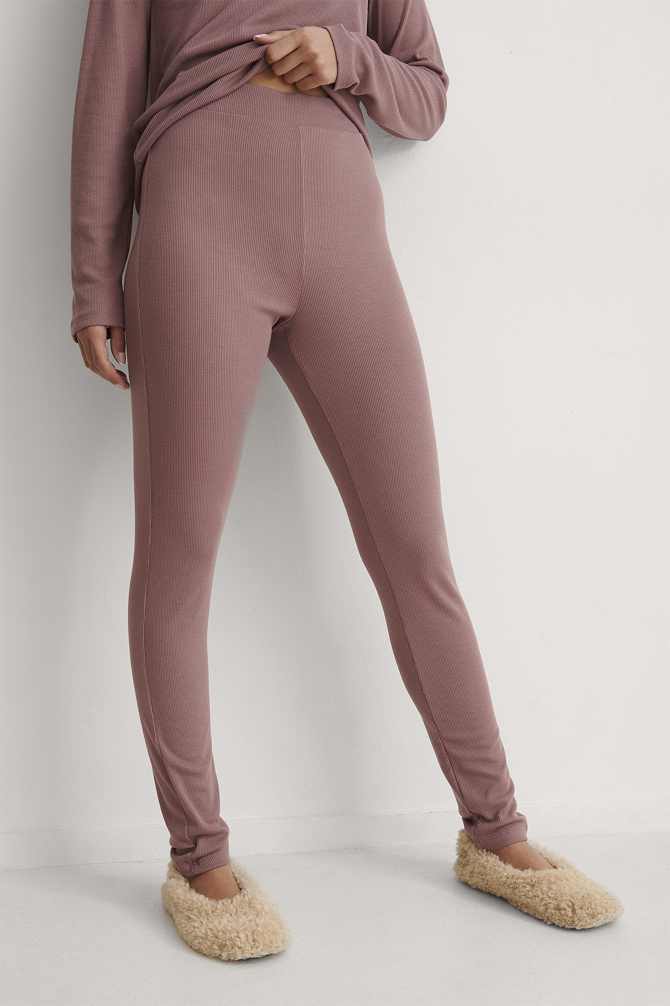 Rose Taupe Recycled Soft Ribbed High Waist Tights
