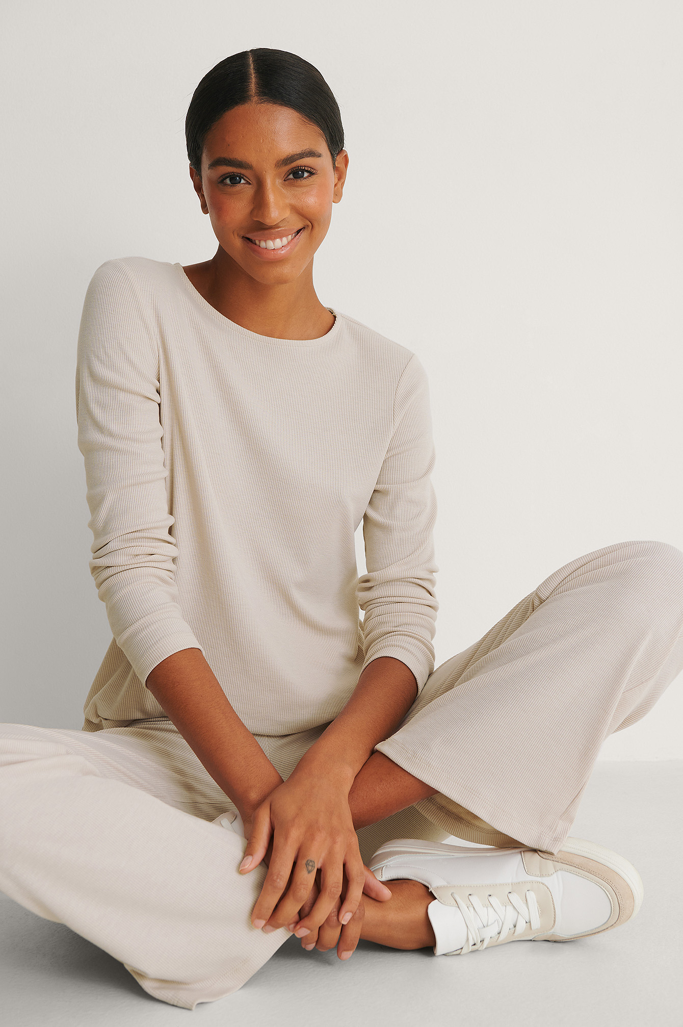Dusty Light Beige Recycled Soft Ribbed Round Neck Top