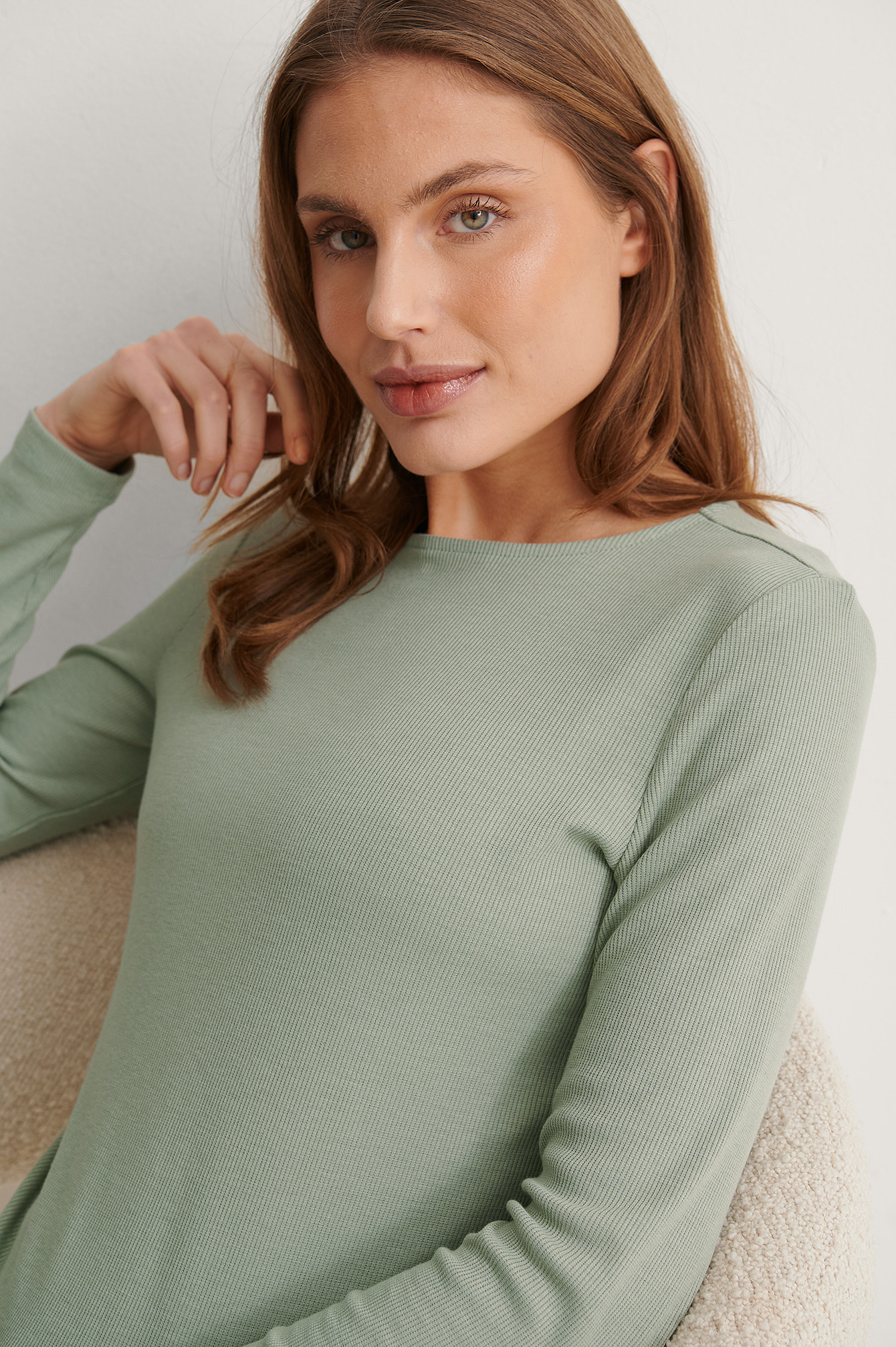 Light Khaki Recycled Soft Ribbed Round Neck Top