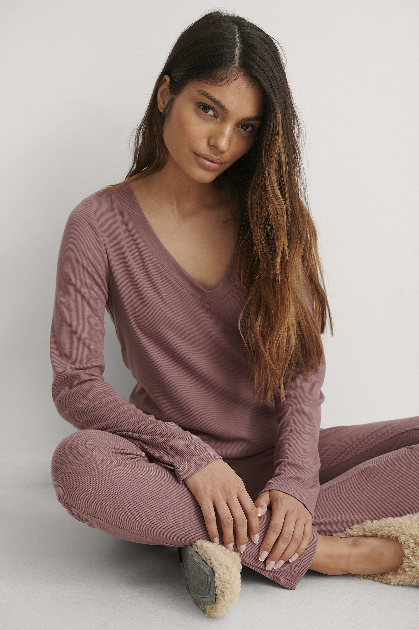 Rose Taupe Recycled Soft Ribbed V-Neck Top