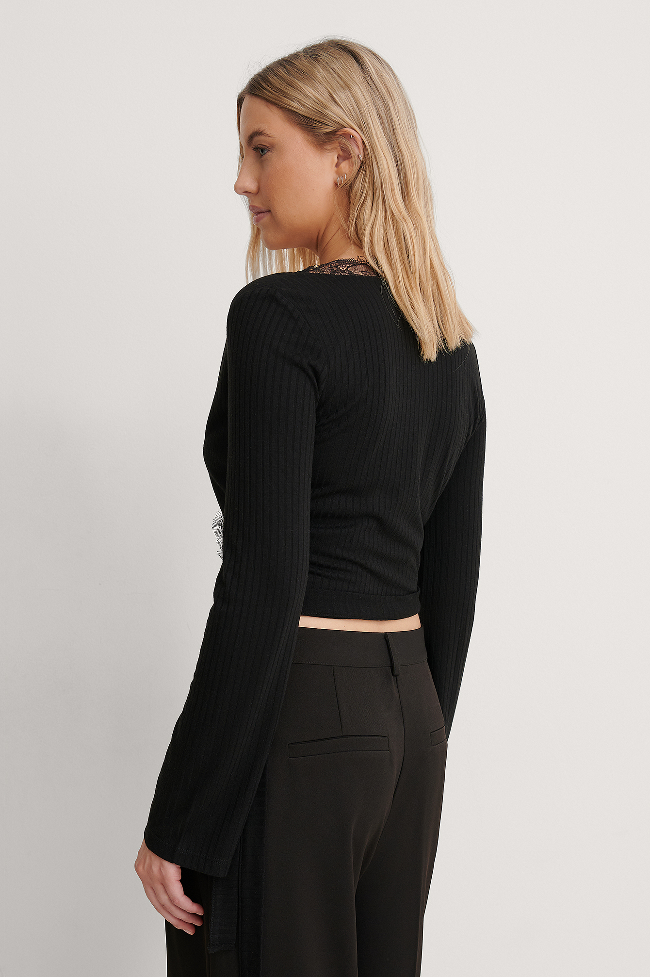 Black Recycled Wrap Lace Detail Top