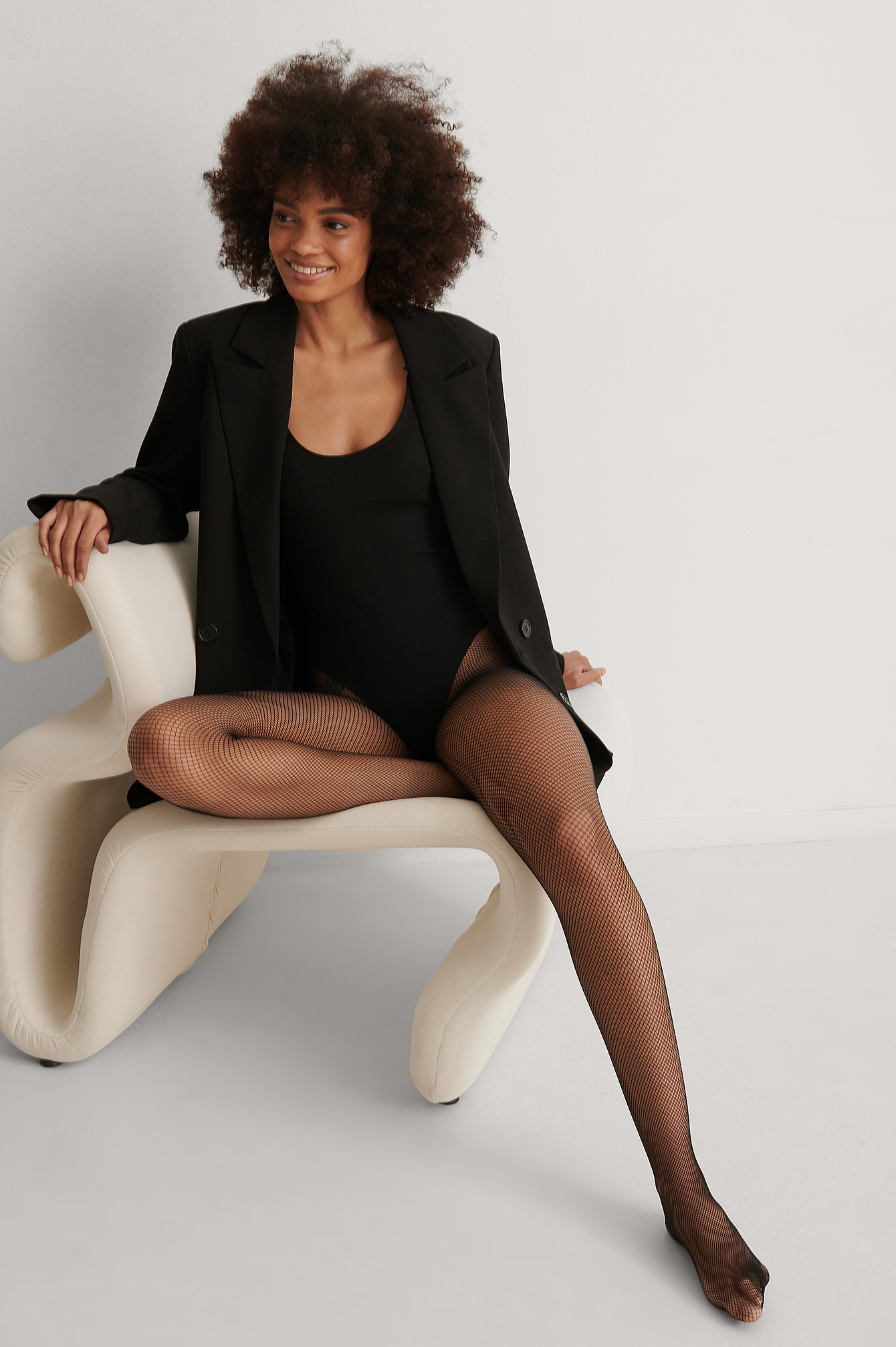 Black Recycled Small Net Tights