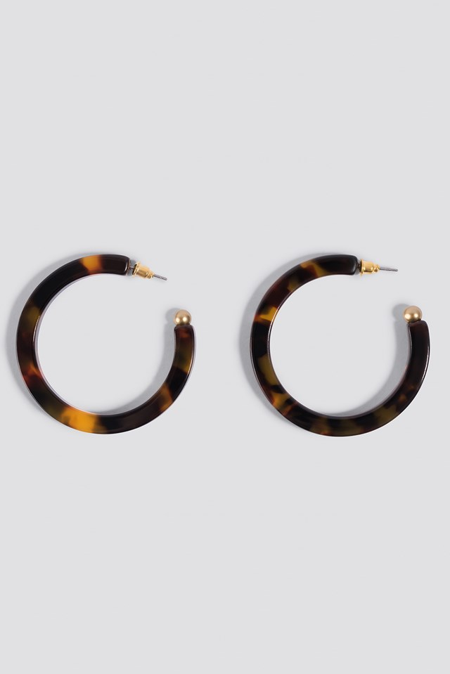 Resin Hoop Earrings Tortoise
