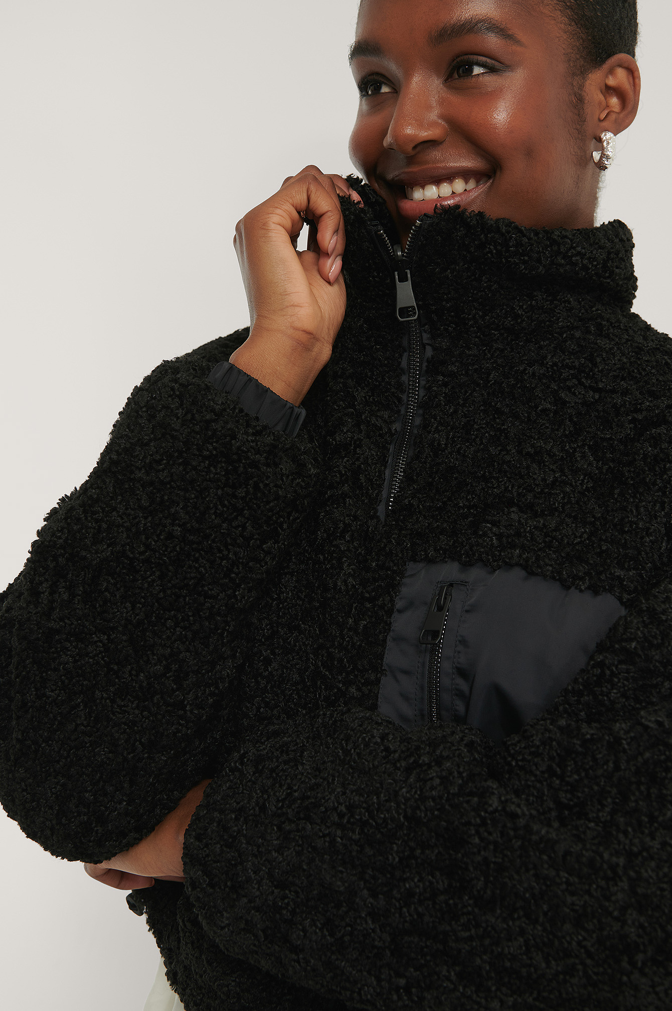 Black Reversible Teddy Jacket