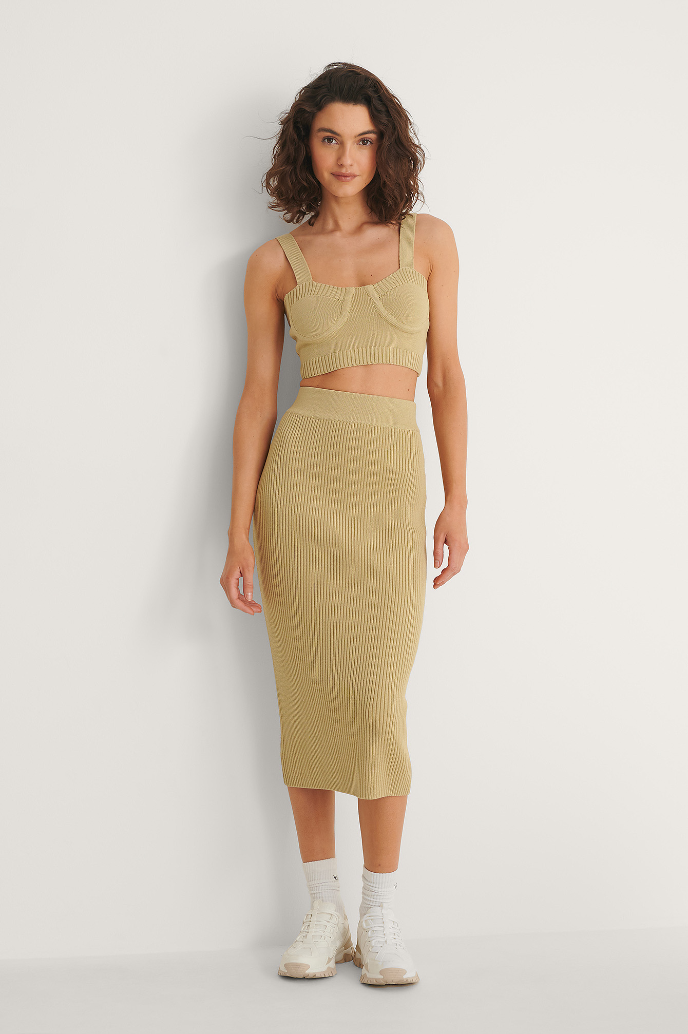 Olive Rib Knitted Skirt