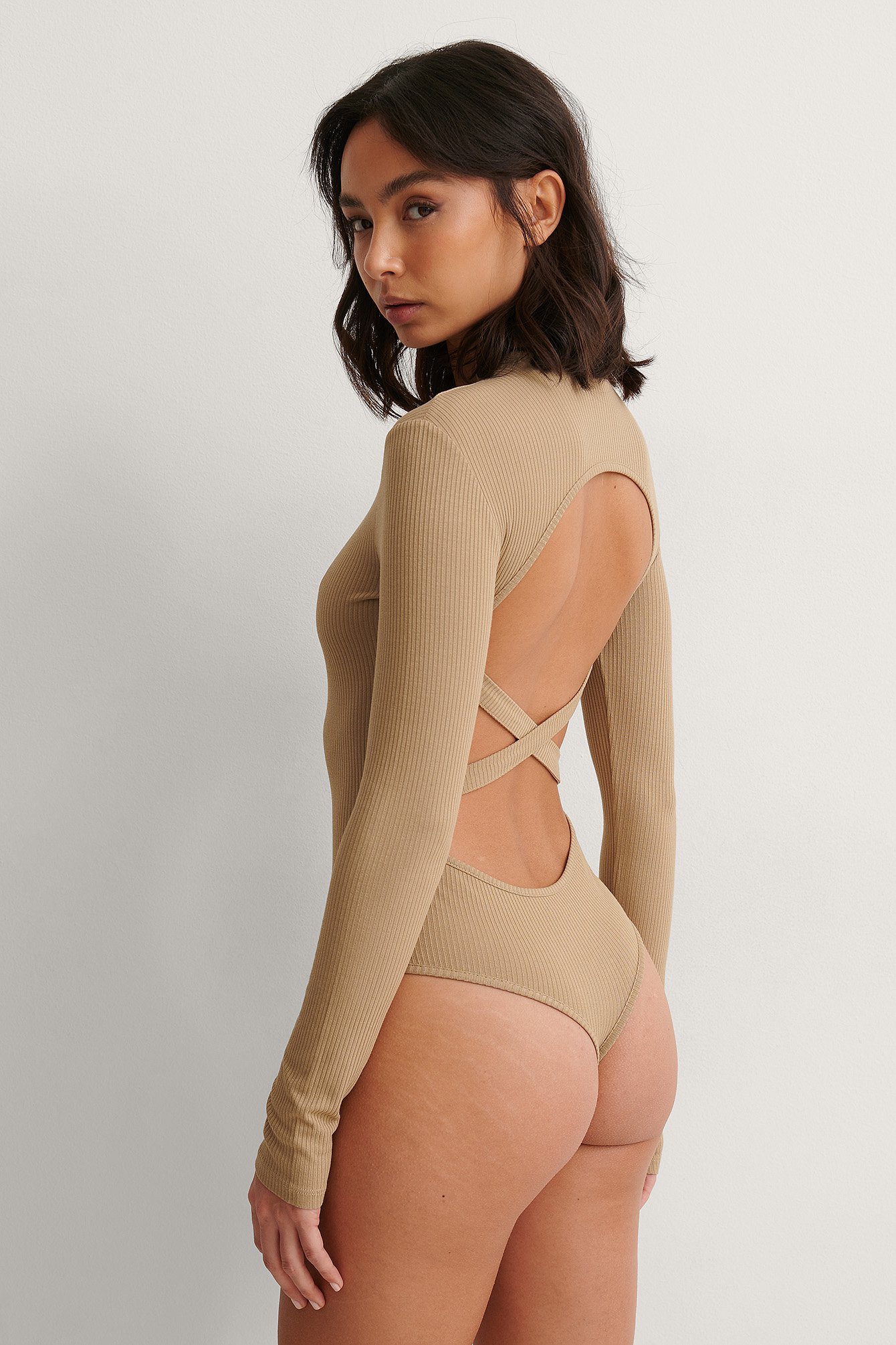 Dark Beige Rib Strap Detail Body