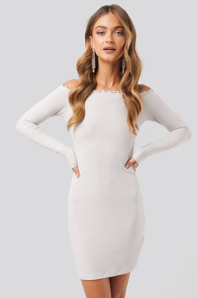 Ribbed Babylock Off Shoulder Dress Dusty Light Beige
