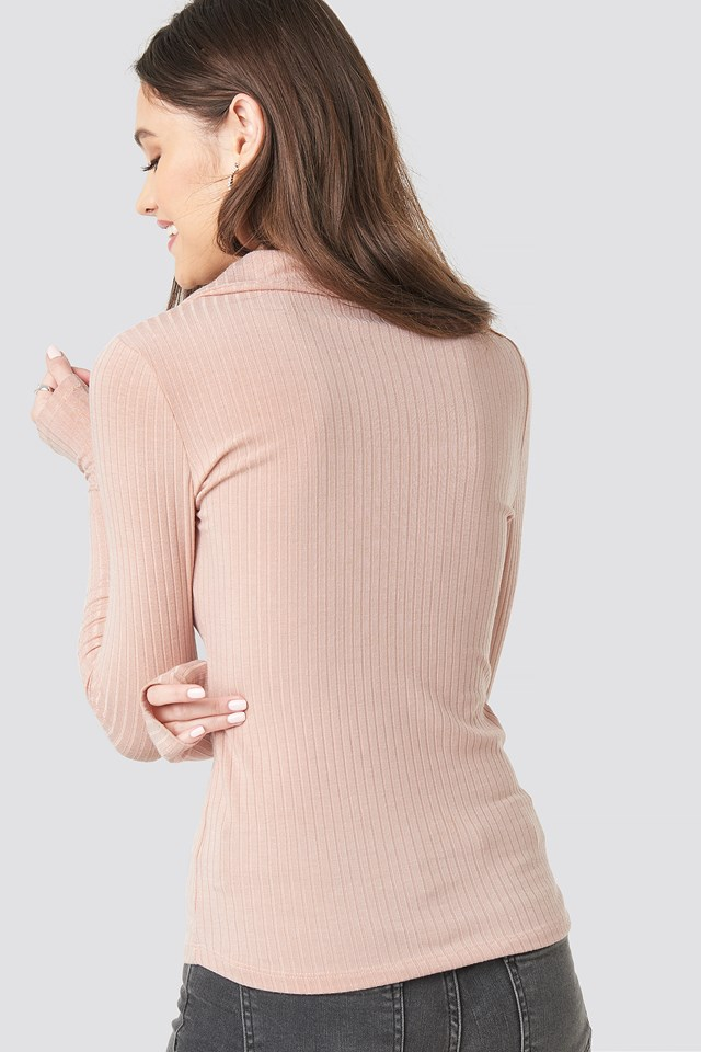 Ribbed Button Top Dusty Light Pink