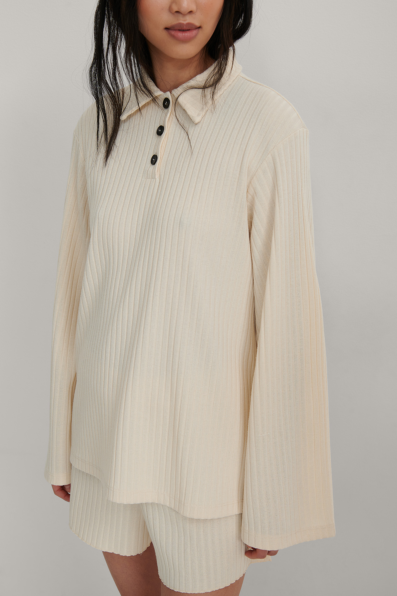 Beige Recycled Ribbed Collar Detail Top