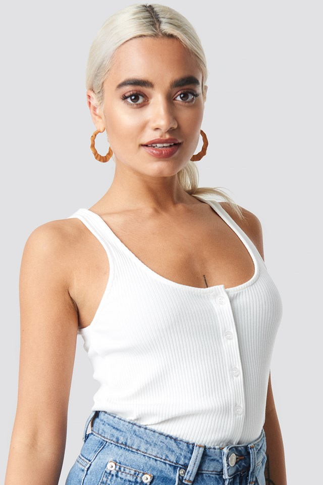 Ribbed Cropped Button Top Offwhite