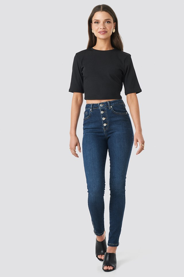 Ribbed Cropped Top Black