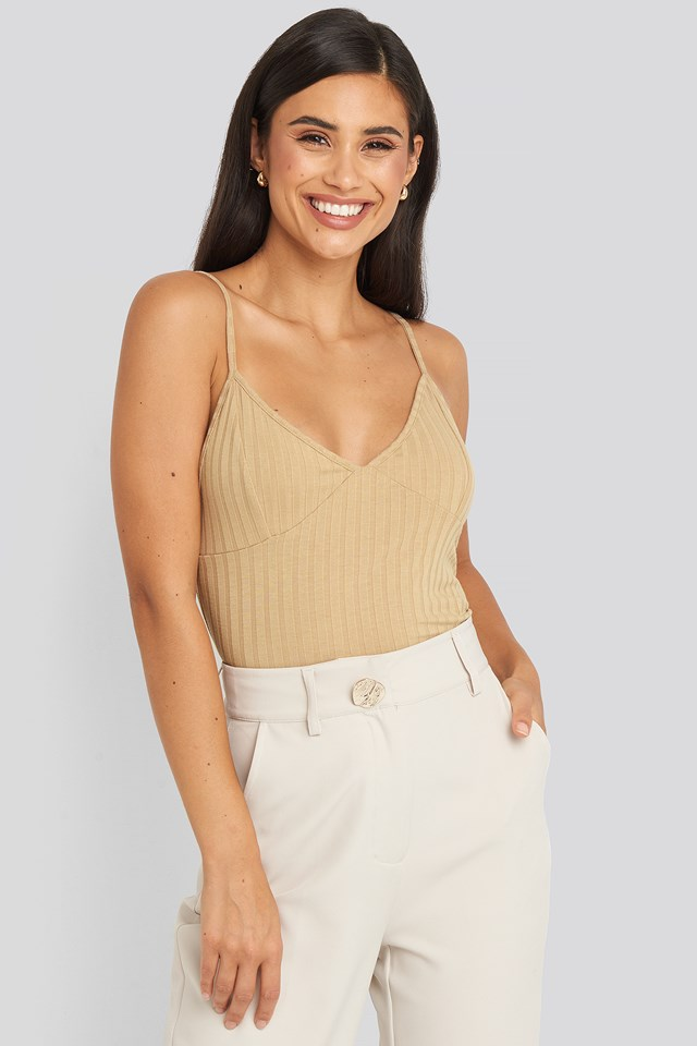 Ribbed Cup Short Singlet Beige