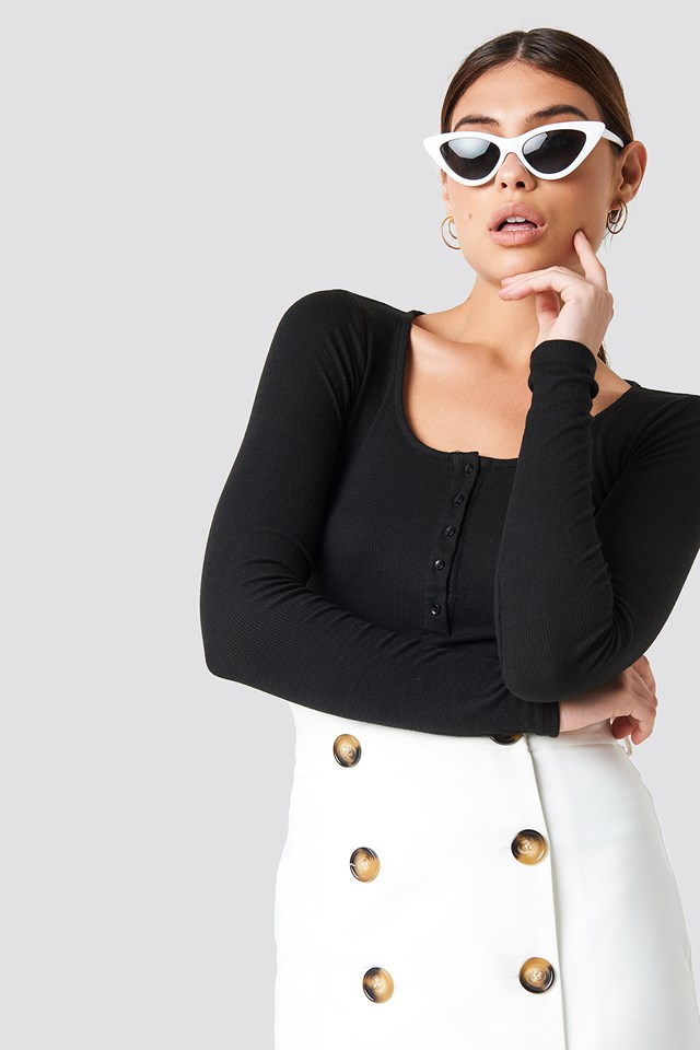 Ribbed Henley Top Black
