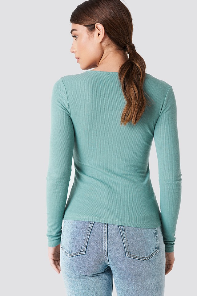 Ribbed Henley Top Green