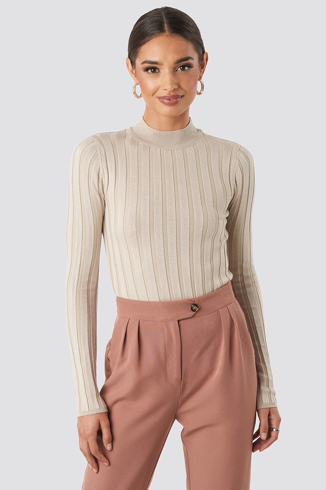 Ribbed High Neck Knitted Sweater Beige
