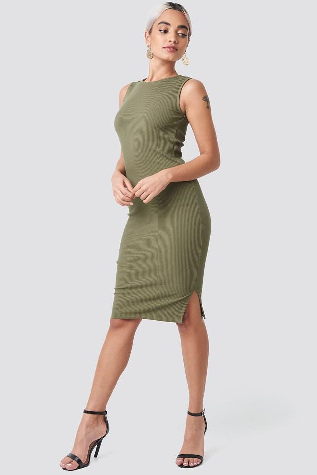 Ribbed Jersey Dress Khaki