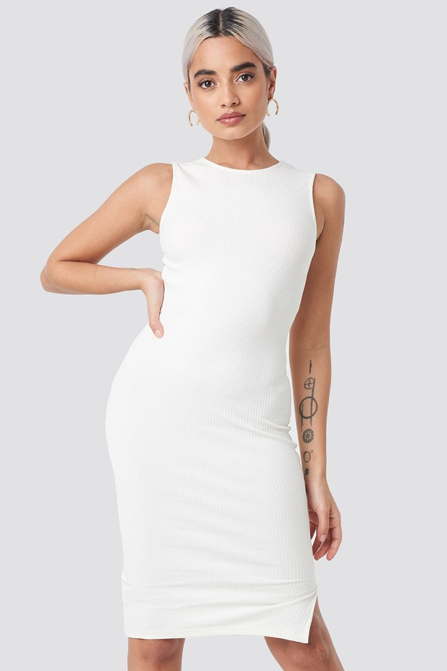 Ribbed Jersey Dress Offwhite
