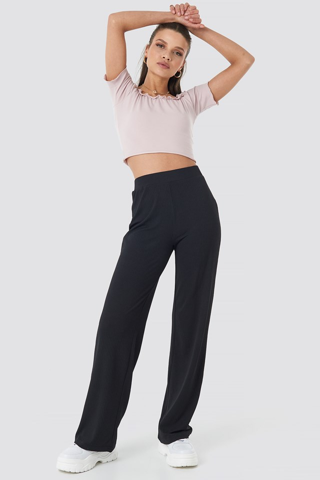 Ribbed Jersey Pants Black