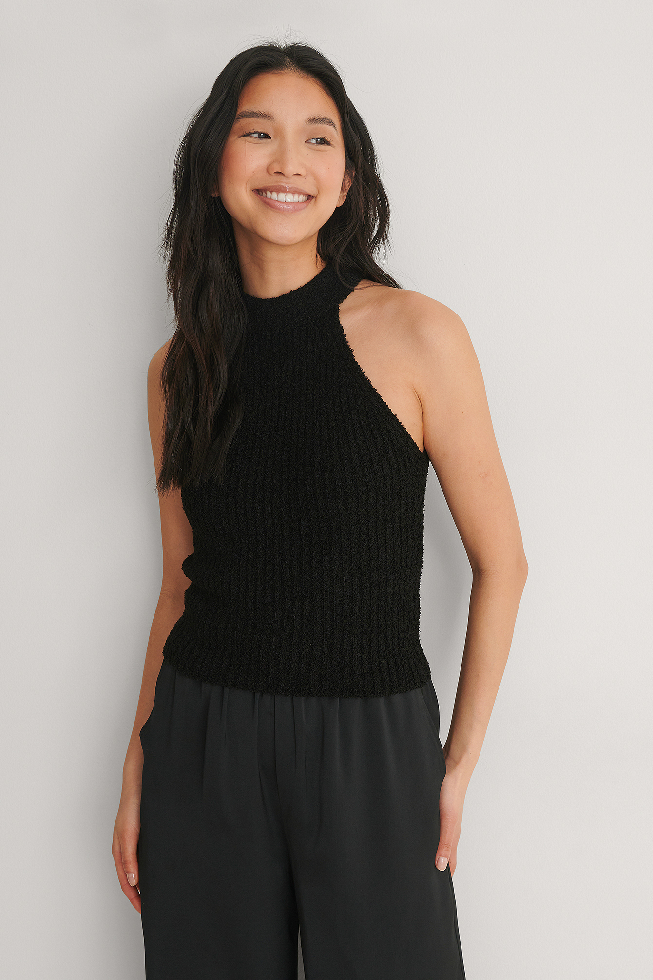Black Ribbed Knitted High Neck Singlet