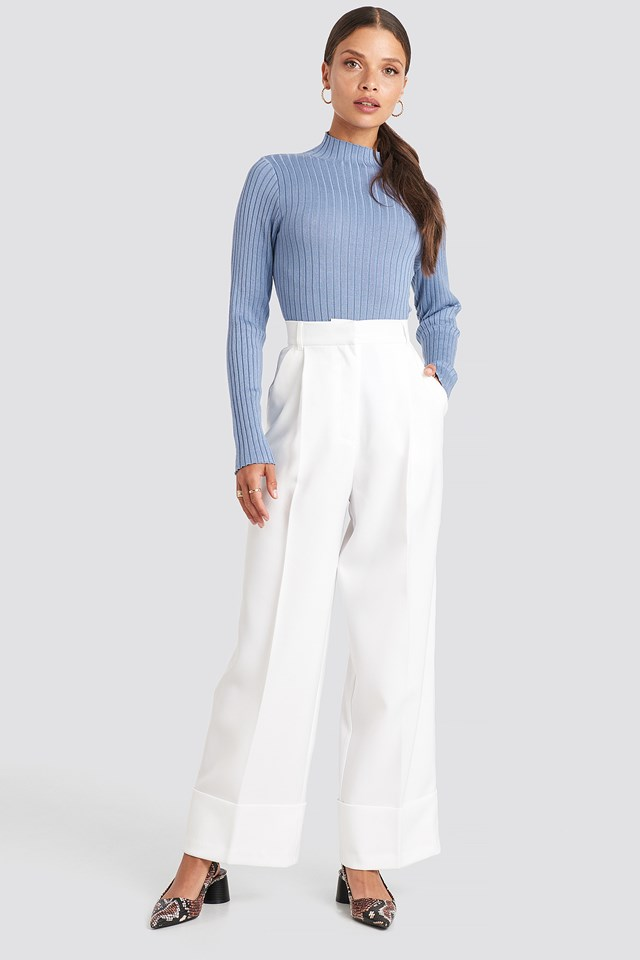 Ribbed Knitted Polo Sweater Stone Blue