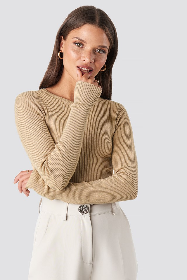 Ribbed Knitted Round Neck Sweater Light Beige