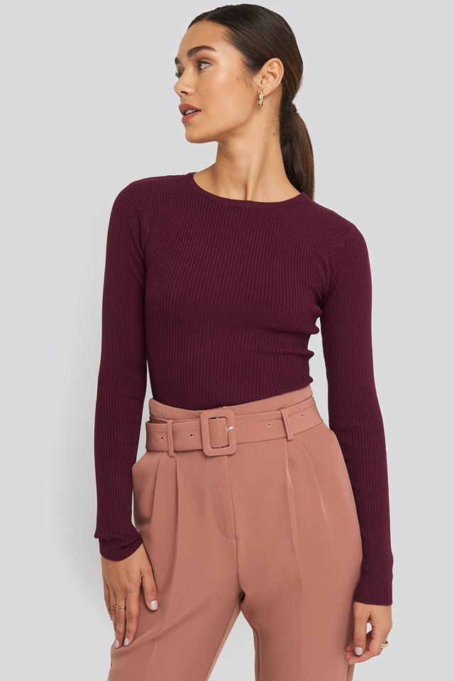 Ribbed Knitted Round Neck Sweater NA-KD